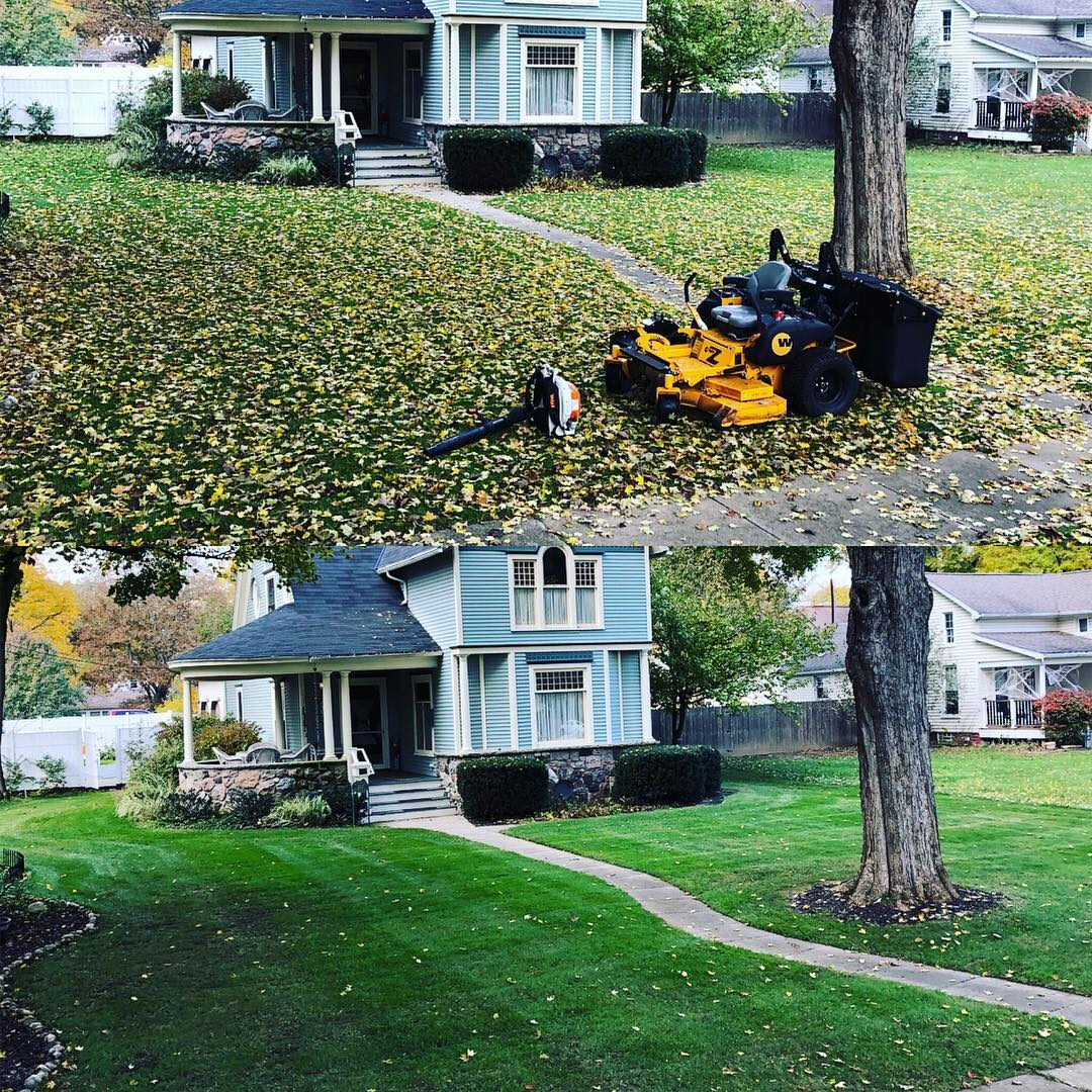 Home in Lenawee, MI needing a fall yard clean up.